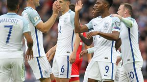 England's striker Daniel Sturridge (2nd R) celebrates with teammates after scoring the opening goal of the World Cup 2018 football qualification match between England and Malta at Wembley Stadium in London on October 8, 2016.  / AFP / Ian KINGTON / NOT FOR MARKETING OR ADVERTISING USE / RESTRICTED TO EDITORIAL USE        (Photo credit should read IAN KINGTON/AFP/Getty Images)