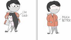 โมเมนต์น่ารัก ภาพการ์ตูนจากเรื่องจริง หนุ่มตัวสูง กับ แฟนสาวตัวเล็ก