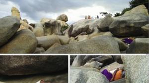 จวกยับ! คู่รักกอดกันข้างหินตาหินยายไม่แคร์สายตาชาวบ้าน