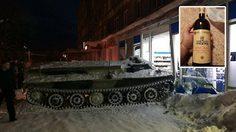 คนจริง!! หนุ่มรัสเซียขับ รถหุ้มเกราะ ฝ่าหิมะเข้าไปปล้นไวน์แค่ขวดเดียวในซูเปอร์มาร์เก็ต