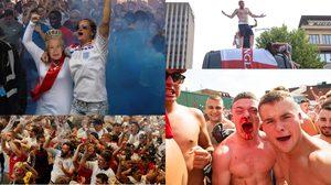 นึกว่าได้แชมป์แล้ว!! ภาพบรรยากาศแฟนบอลทีมชาติ อังกฤษ ออกมาฉลองกันอย่างสุดเหวี่ยง