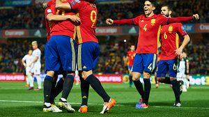 """GRANADA, SPAIN - NOVEMBER 12:  Victor Machin Perez """"Vitolo"""" of Spain celebrates after scoring during the FIFA 2018 World Cup Qualifier between Spain and FYR Macedonia at  on November 12, 2016 in Granada, .  (Photo by Aitor Alcalde Colomer/Getty Images)"""