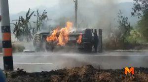 ระทึก! รถบรรทุกน้ำมันหักหลบ จยย. พลิกคว่ำไฟลุกท่วม