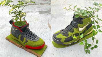 กระถางต้นไม้จากสนีกเกอร์ ศิลปินญี่ปุ่นสร้างผลงานศิลปะจาก รองเท้าเก่าๆ