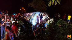 รถทัวร์สายแม่สอด-กรุงเทพ เสียหลักตกถนนดับ 2 เจ็บเพียบ