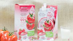 สูตรลับหน้าเด็ก! น้ำมะเขือเทศ 99% Smooto Tomato Bulgaria Yogurt 1 ซองใช้ได้ 7 อย่าง