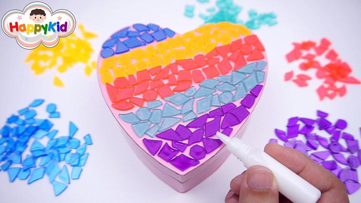 แปะโมเสคบนกล่องรูปหัวใจ | วีดีโอเรียนรู้สีสำหรับเด็ก | Learn Color In Thai