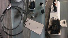 อุทาหรณ์!! สาวโพสต์ภาพ สายชาร์จ และที่ชาร์จเทียม ระเบิดลุกไหม้คา iPhone 8 Plus