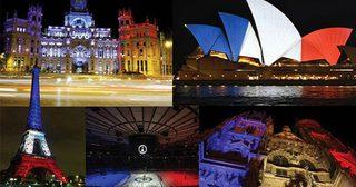 รวบรวมภาพแห่งกำลังใจ ! ทั่วโลก พร้อมใจฉายไฟรูปธงชาติฝรั่งเศส