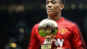 MANCHESTER, ENGLAND - DECEMBER 19:  Anthony Martial of Manchester United receives the 2015 Golden Boy award for being the best young player in Europe  during the Barclays Premier League match between Manchester United and Norwich City at Old Trafford on December 19, 2015 in Manchester, England. (Photo by Marc Atkins/Mark Leech Sports Photography/Getty Images)