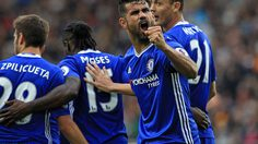 Chelsea's Brazilian-born Spanish striker Diego Costa (2nd R) celebrates scoring their second goal during the English Premier League football match between Hull City and Chelsea at the KCOM Stadium in Kingston upon Hull, north east England on October 1, 2016. / AFP / Lindsey PARNABY / RESTRICTED TO EDITORIAL USE. No use with unauthorized audio, video, data, fixture lists, club/league logos or 'live' services. Online in-match use limited to 75 images, no video emulation. No use in betting, games or single club/league/player publications.  /         (Photo credit should read LINDSEY PARNABY/AFP/Getty Images)