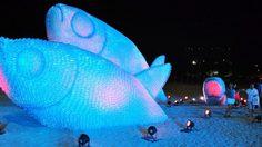 รูปปั้นปลายักษ์ เรืองแสงจากขวดน้ำ