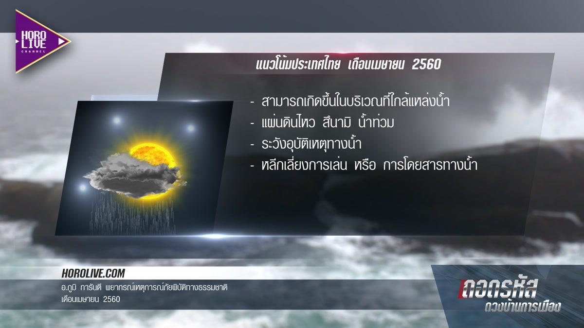 พยากรณ์เหตุการณ์ภัยพิบัติทางธรรมชาติ เดือนเมษายน 2560